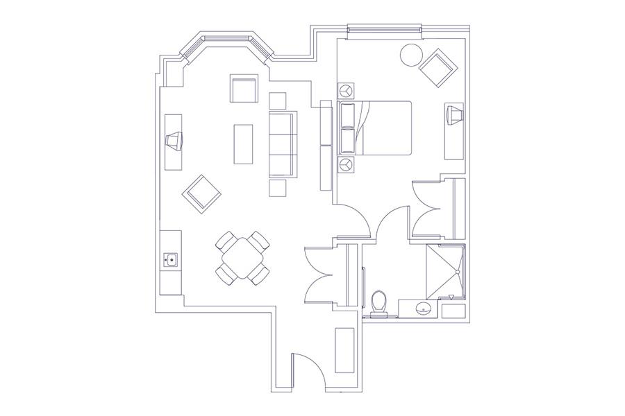 grand oaks senior living one-bedroom blueprint