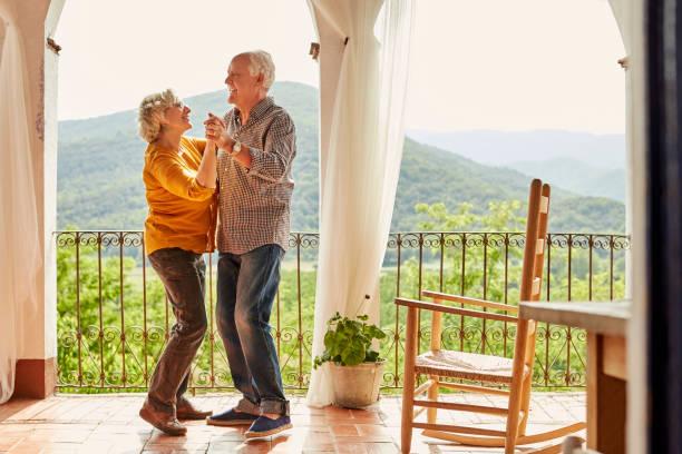 Elderly Couple Having Fun Safely
